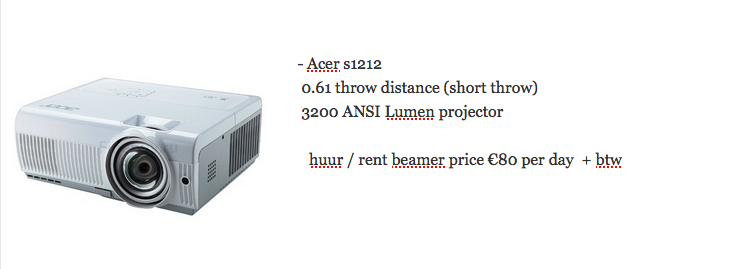 ACER s1212 short throw huur beamer